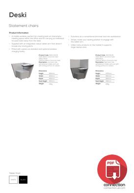 Connection Deski product spec sheet